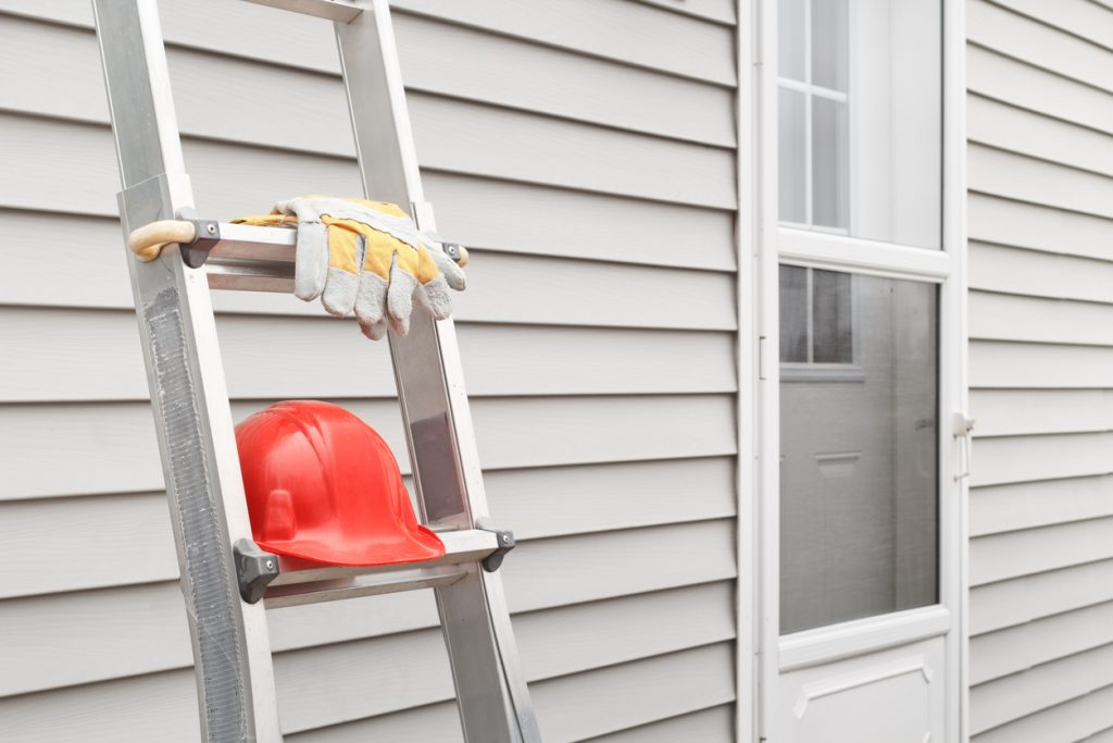 Ladder, Gloves And Hard Hat
